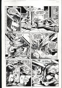 ELVIRA #117-ORIGINAL ART-TOD SMITH-PG6-SPEEDING CAR ART FN