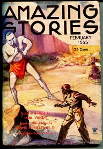Amazing Stories 2/1935-Tech Pubs-pulp format-rare transistional period title-VG-