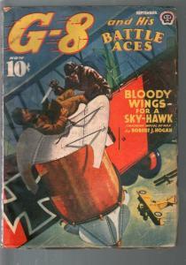 G-8 and His Battle Aces 9/1940-Hero pulp-Sky-Hawl=R J Hogan-VG