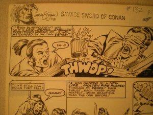 ERNIE CHAN Published Original Art SAVAGE SWORD of CONAN #132, pg #31 Sword fight