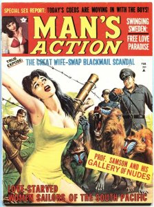 MAN'S ACTION-FEB 1970-NAZI BABOONS MENACE BOUND BABE-CHEESECAKE-VF