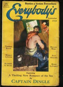 EVERYBODY'S 1928 SEP-ACTION ADVENTURE PULP MAGAZINE VG