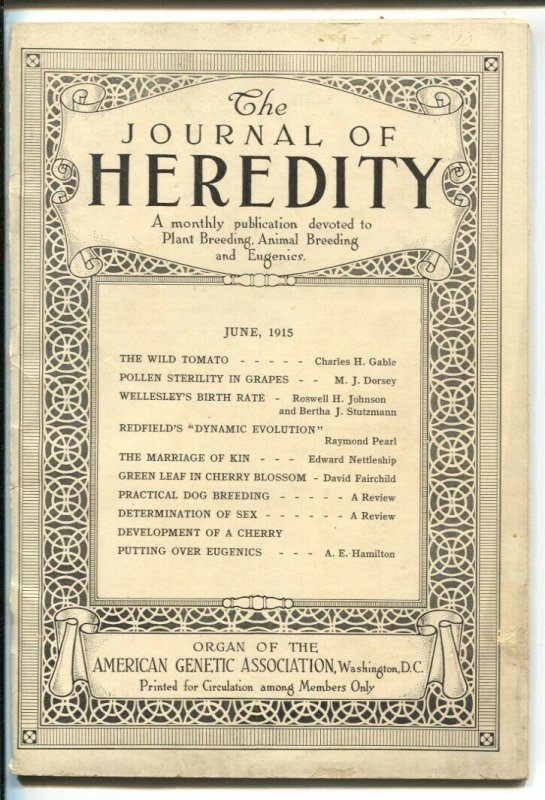 Journal of Heredity 6/1915-never on news stands-animal & plant breeding-VG/FN
