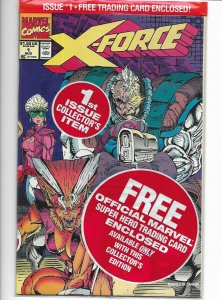 X-Force #1 Marvel 1991 NM Sealed in polybag w/Cable card. Rob Liefeld cvr.