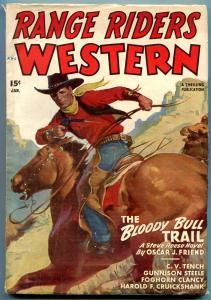 Range Riders Western Pulp January 1948- Bloody Bull Trail- Steve Reese FN