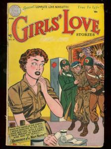 GIRLS LOVE STORIES #18 1952--ROMANCE-DC WAR COVER-RARE G/VG
