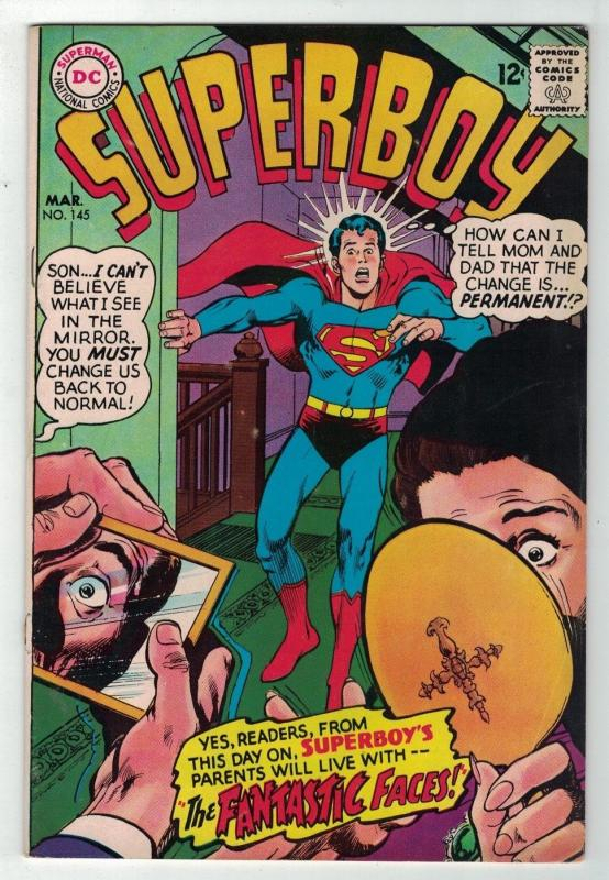 SUPERBOY 145 VG+ NEAL ADAMS COVER   March 1968