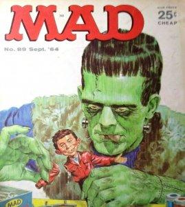 MAD Magazine Sept 1964 No 89 Frankenstein Monster Movie Cover Halloween Horror