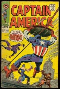 CAPTAIN AMERICA #105 1968-JACK KIRBY-MARVEL COMICS VG