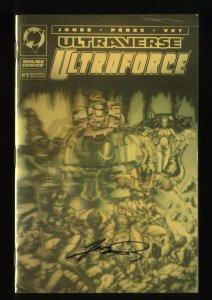 Ultraforce #1 VF- 7.5 Signed George Perez w/ COA! Gold Foil Hologram Variant