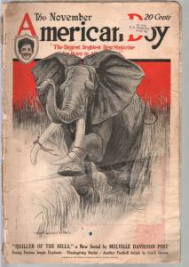 American Boy 11/1921-Elephant cover-adventure-pulp fiction-baseball-P/FR