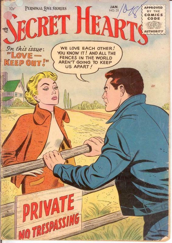 SECRET HEARTS 31 GOOD Jan. 1956 COMICS BOOK