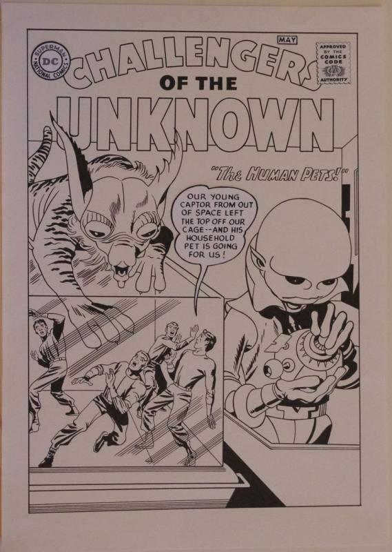 ANGEL GABRIELE original art, CHALLENGERS of the UNKNOWN #1 Jack Kirby Recreation
