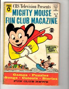 Mighty Mouse Fun Club Magazine # 5 FN Pines Silver Age Comic Book CBS TV JL11