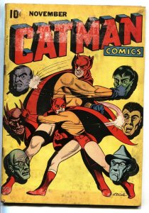 Catman Vol.3 #2 1944 L.B. Cole superhero comic book WWII Golden-Age