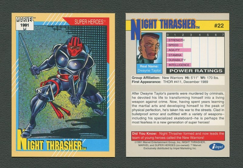 1991 Marvel Comics II  Card  #22 ( Night Thrasher )  MINT
