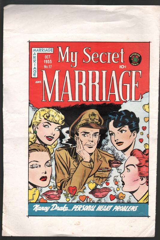 My Secret Marriage #17 Printers Proof Cover Sheet 1955-Superior Comics-rare-VG