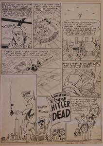 BOB POWELL original art, ALL NEW COMICS #4 pg 8, 1943, Bombs over Berlin, Hitler