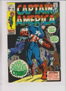 Captain America #124 VF- april 1970 - stan lee - gene colan - 1st cyborg  marvel
