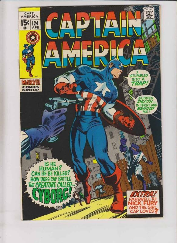 Captain America #124 VF- april 1970 - stan lee - gene colan - 1st cyborg  marvel