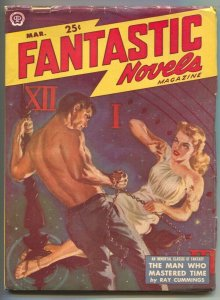 Fantastic Novels 3/1950-Popular-Norman Saunders GGA cover-Ray Cummings Man W...