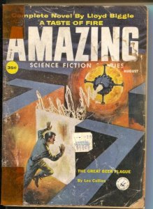 Amazing Stories 8/1959-Ziff-Davis-Leo Summers cover-Lloyd Biggle-Virgil Finlay-P
