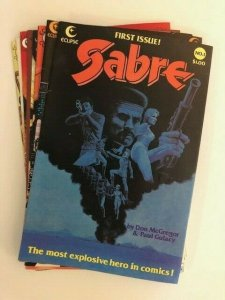 LOT of 8-Eclipse Comics SABRE #1-4,6,8-10 VERY FINE (A91)