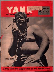 Yank 2/11/1944-Army Weekly-early Sad Sack cartoon-Hitler-Italy-cheesecake-FR/G