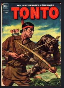 TONTO #5-THE LONE RANGER'S COMPANION-GRIZZLEY BEAR ATTACK--RARE-1952-DELL G/VG