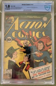 Action Comics #51 (1942) CBCS 1.8 -- First Prankster appearance; Like CGC
