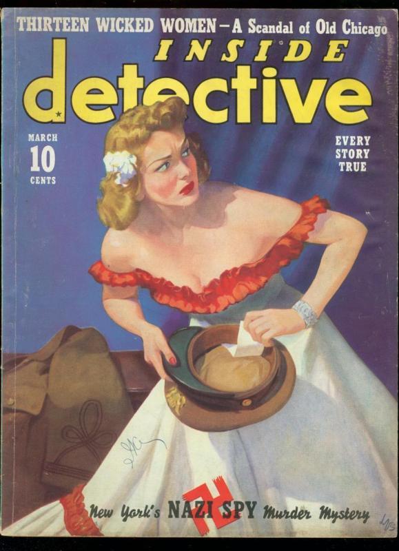 INSIDE DETECIVE MARCH 1940-NAZI SPY MURDER-TRUE CRIME VG