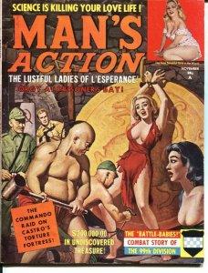 MAN'S ACTION-NOV 1961-COMMIE BONDAGE-CASTRO TORTURE-99th DIVISION-WAR-CHEESEC...