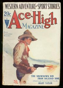 ACE-HIGH MAGAZINE 1st SEPT 1929-WESTERN & SPORTS PULP VG