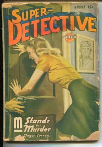 Super-Detective 4/1944GGA cover-Hardboiled crime pulp from Roger Torrey-G/VG