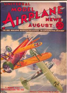 Model Airplane News 8/1933-Jay-biplane dogfight  pulp style aviation cover Kotul