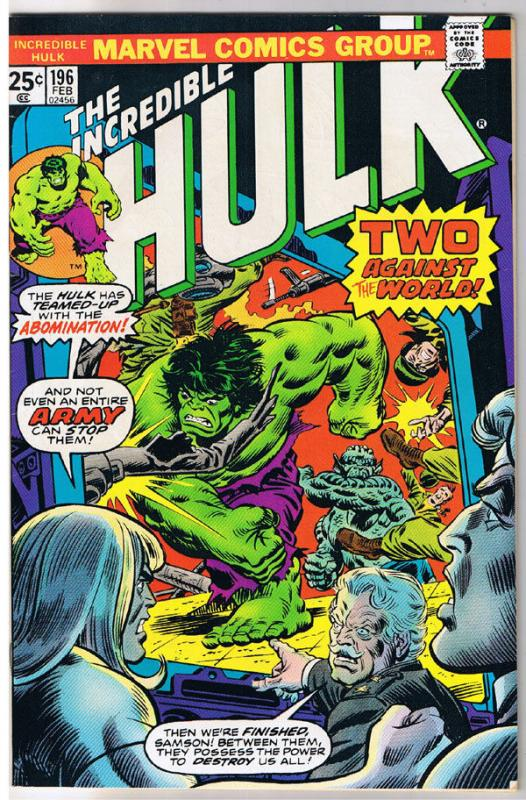HULK #196, VF, Incredible, Bruce Banner, Abomination, 1968, more in store