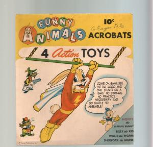 Funny Animals Acrobats- 4 action toys- Hoppy Marvel Bunny- Fawcett Comics