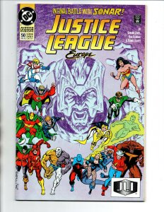 Justice League Europe #50 - Hal Jordan/Power Girl kiss - 1993 - NM