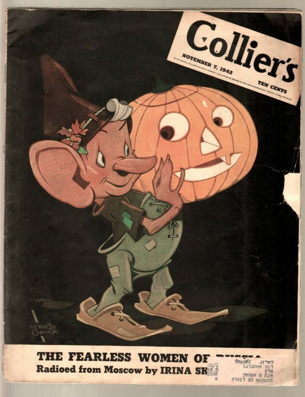 Colliers 11/7/1942-Vernon Grant Halloween cover-Sax Rohmer-WWII-G/VG