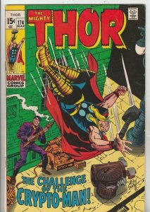 Thor, the Mighty # 174 strict VG/FN+  1st   appearance Crypto-Man