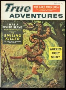 TRUE ADVENTURES NOV 1955-WILD SNAKE ATTACK COVER-DRUGS VF/NM