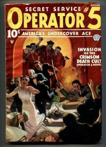 Operator #5 9/1935-Popular-hero pulp-INVASION OF THE CRIMSON DEATH CULT