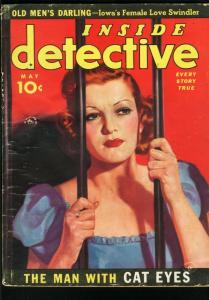 INSIDE DETECTIVE MAY 1939-TRUE CRIME0FISHER COVER-TIGER WOMAN FR/G