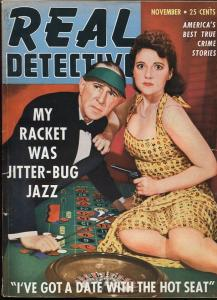 REAL DETECTIVE NOV 1942-WILD TRUE CRIME-PULP-MAGAZINE-ELECTRIC CHAIR-ROULETTE VG