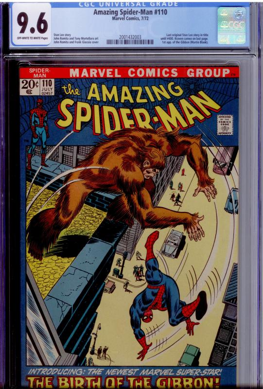 Amazing Spider-Man #110 CGC 9.6 OW/White 1st app. of the Gibbon WELL-CENTERED!
