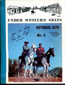 Under Western Skies #4 10/1978-Lone Ranger-Clayton Moore-B-Westerns-VG/FN