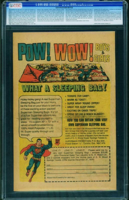 Action #1 1976 CGC Graded 9.8 1st Superman-rare SLEEPING BAG Reprint 0245662005