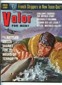 VALOR FOR MEN-JUNE-1957-SHARLK-UNCLE SAM-SOUTHERN STATES PEDIGREE-vf minus