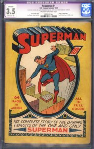 SUPERMAN #1 CGC 3.5 EP-1939-HOLY GRAIL COMIC BOOK-0976202001