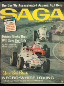 SAGA MAGAZINE APRIL 1965-INDY CAR RACE-NEGRO/WHITE LOVE FN